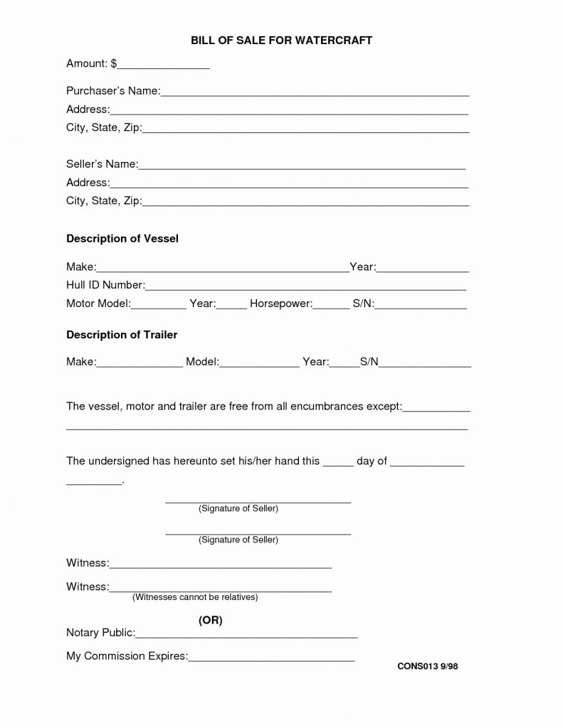 Blank Bill Of Sale Form Fresh Free Boat Template Printable Invoice - Free Printable Bill Of Sale