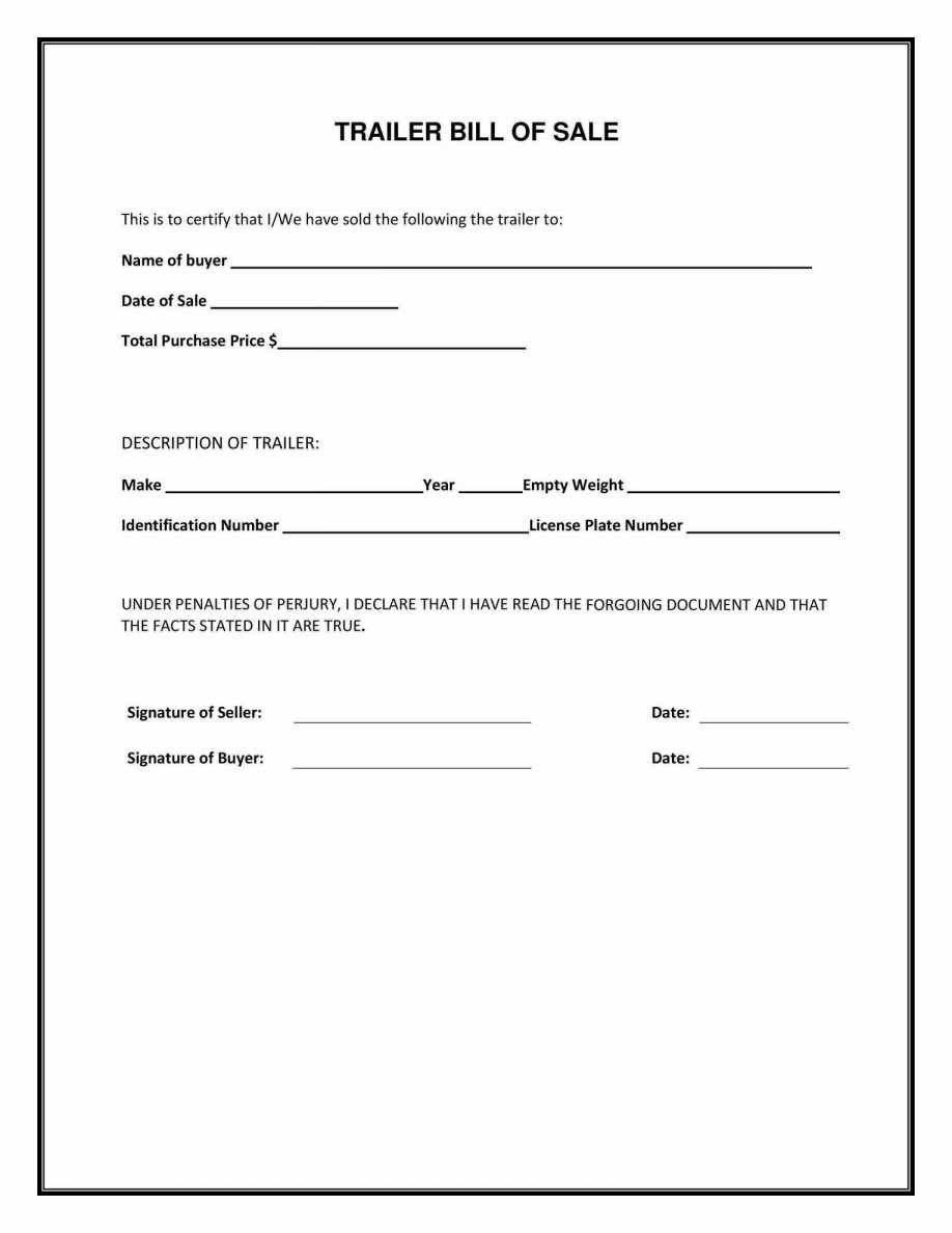 Blank Bill Of Sale Forms Free Printable Texas Form For Trailer - Free Printable Texas Bill Of Sale Form