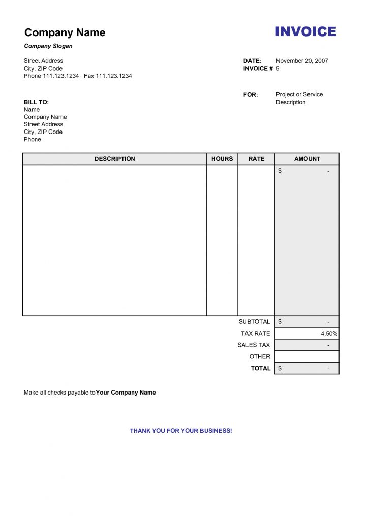 Free Printable Work Invoices