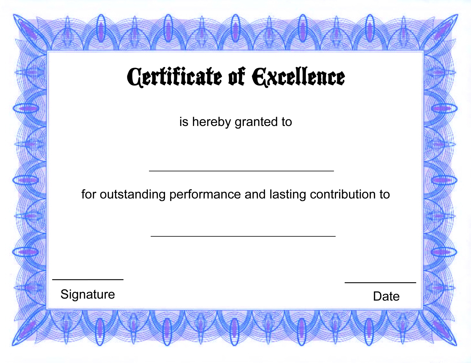Blank Certificate Templates Of Excellence | Kiddo Shelter | Šįyyy - Free Printable Diploma Template