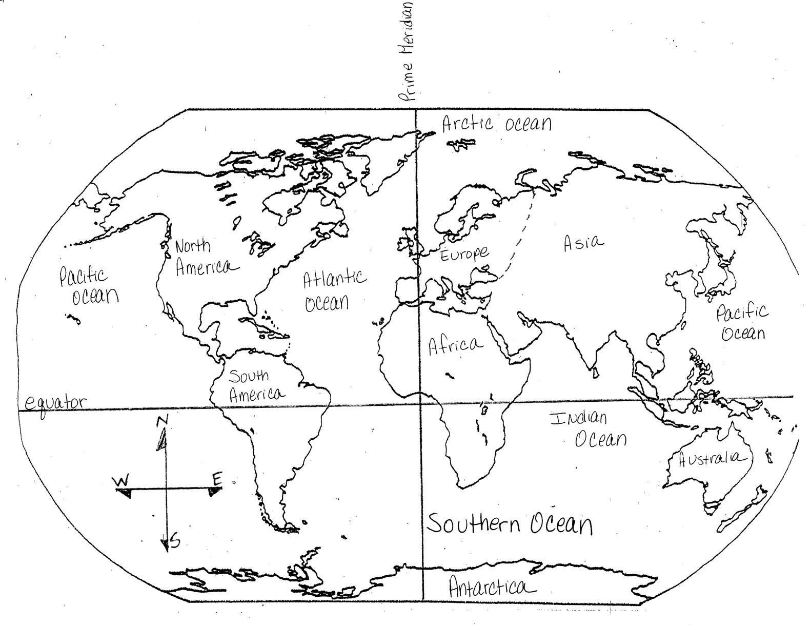 Blank Maps Of Continents And Oceans And Travel Information - Free Printable Map Of Continents And Oceans