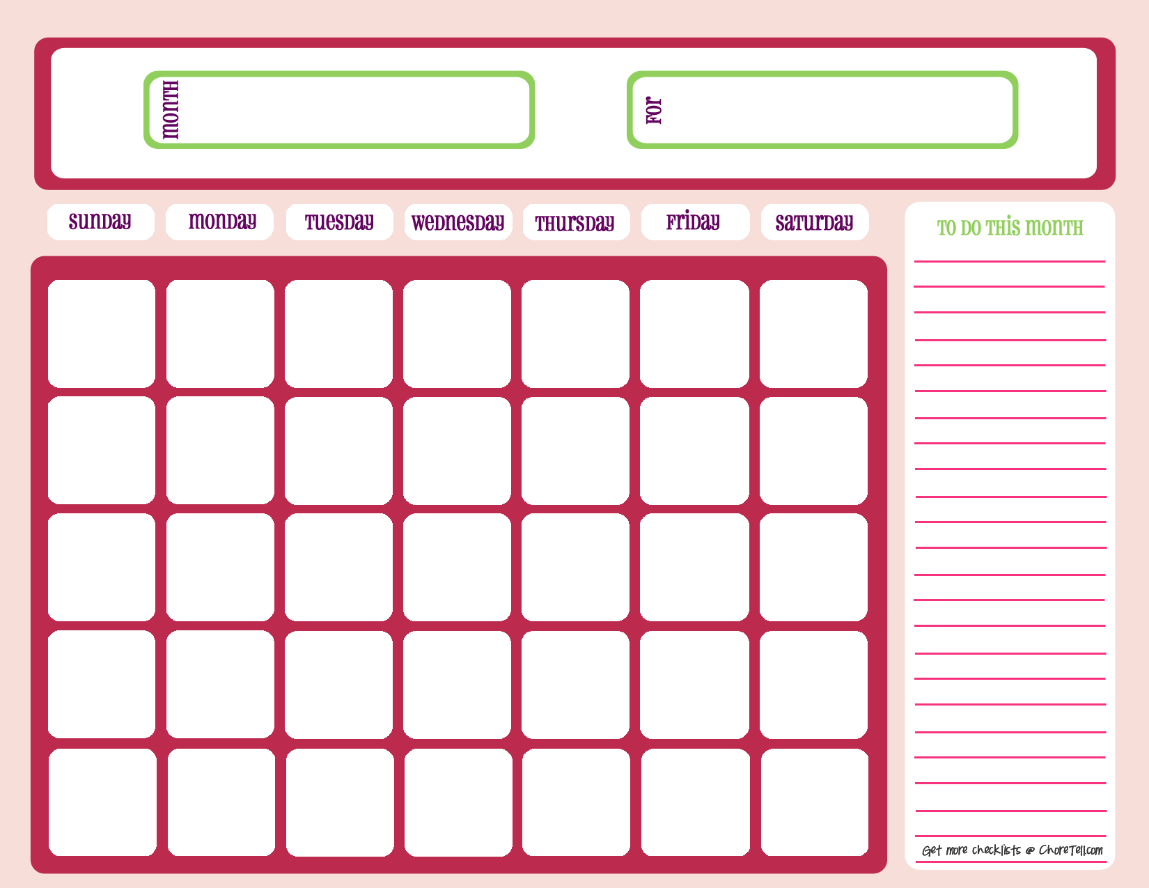 Blank Month Calendar - Pinks - Free Printable Downloads From - Free Printable Charts And Lists
