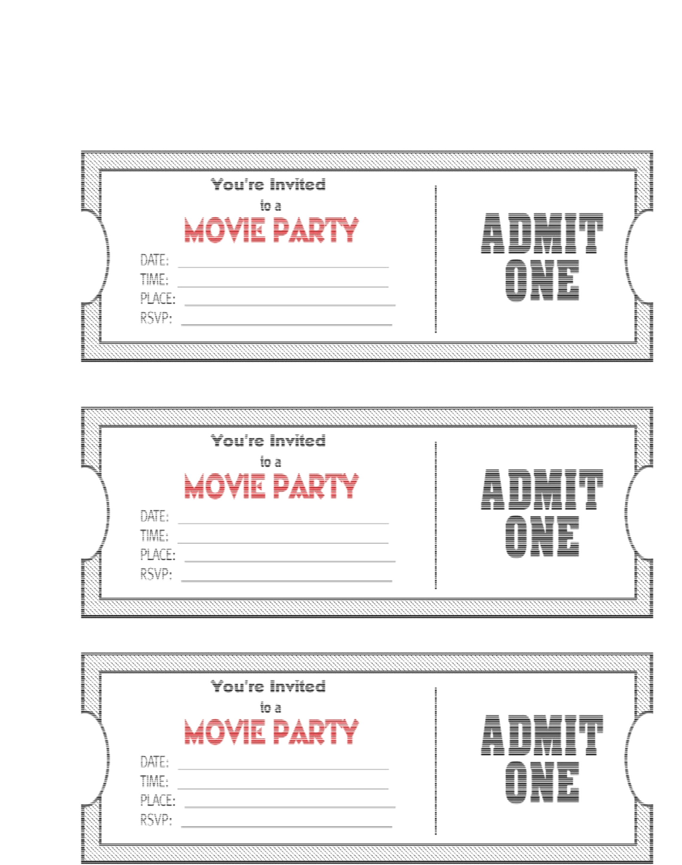 Blank Movie Ticket Invitation Template | Escort, Place Cards And - Free Printable Ticket Invitations