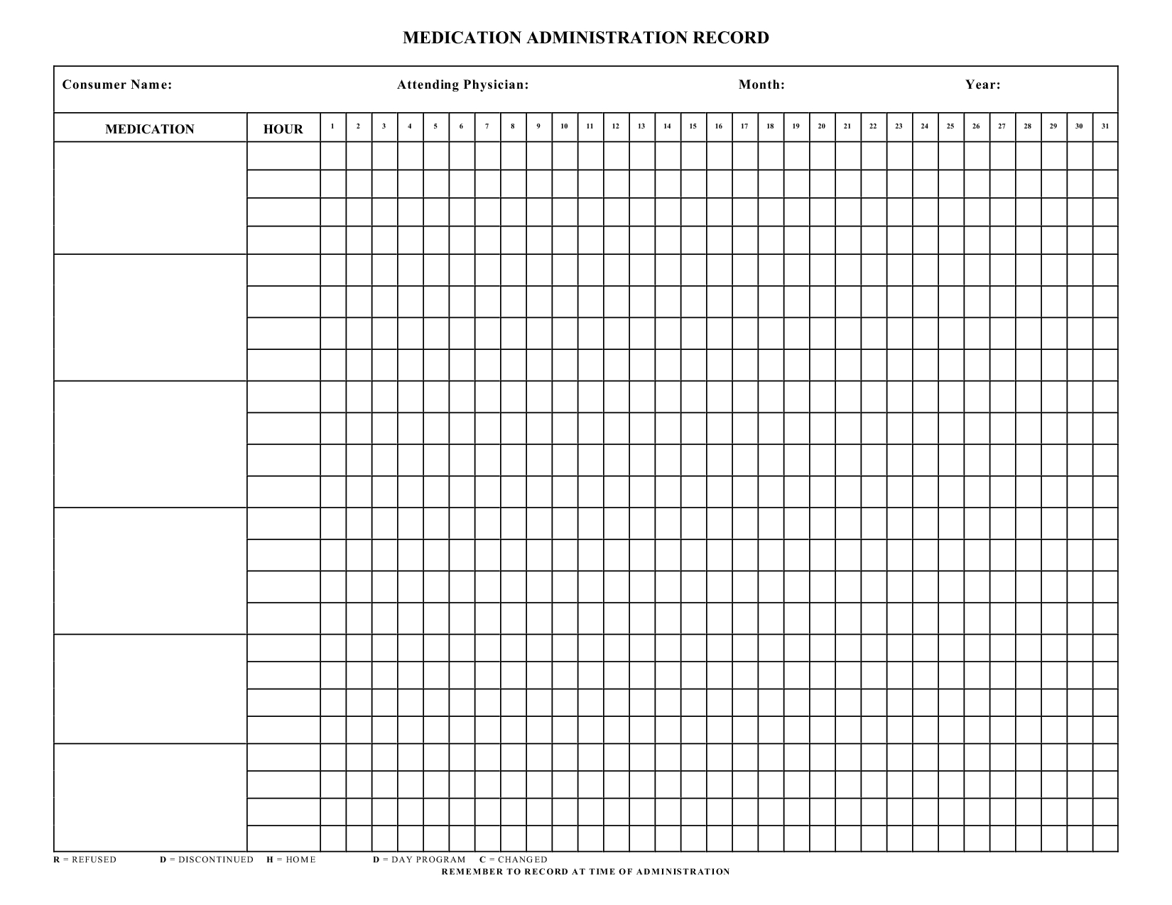 Blank+Medication+Administration+Record+Template | Work | Pinterest - Free Printable Medication Log