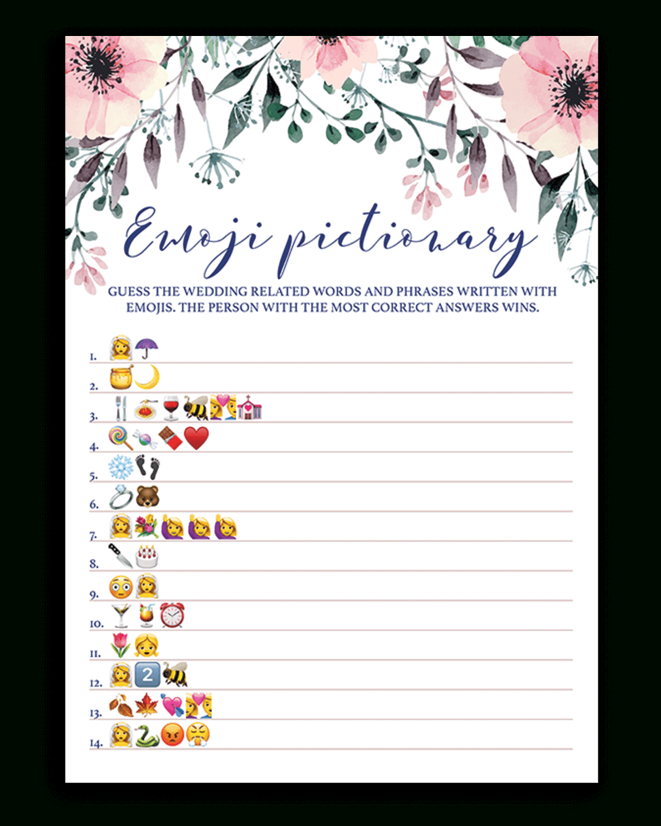 Blush Floral Bridal Shower Emoji Pictionary Game Printable - Wedding Emoji Pictionary Free Printable