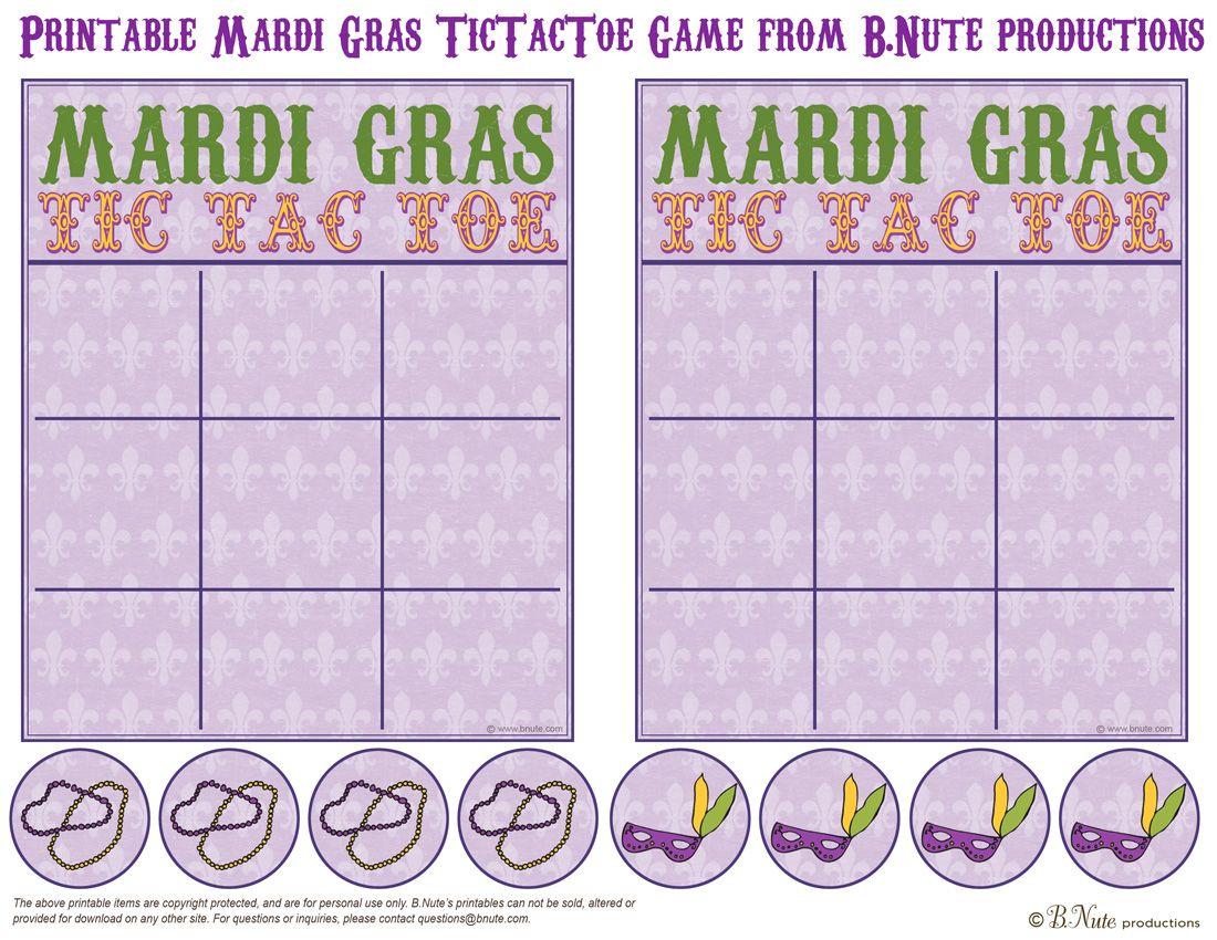 Bnute Productions: Printable Mardi Gras Tictactoe Game | Mardi Gras - Free Printable Mardi Gras Games