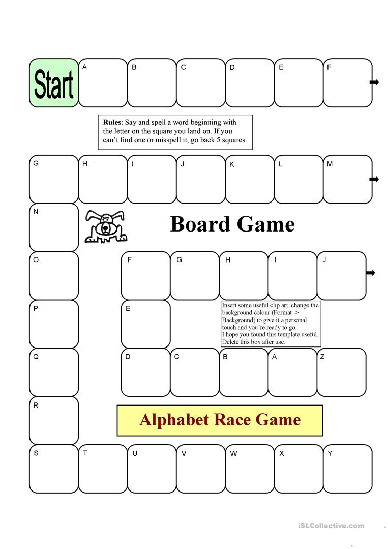 Board Game - Alphabet Race Worksheet - Free Esl Printable Worksheets - Free Printable Alphabet Board Games