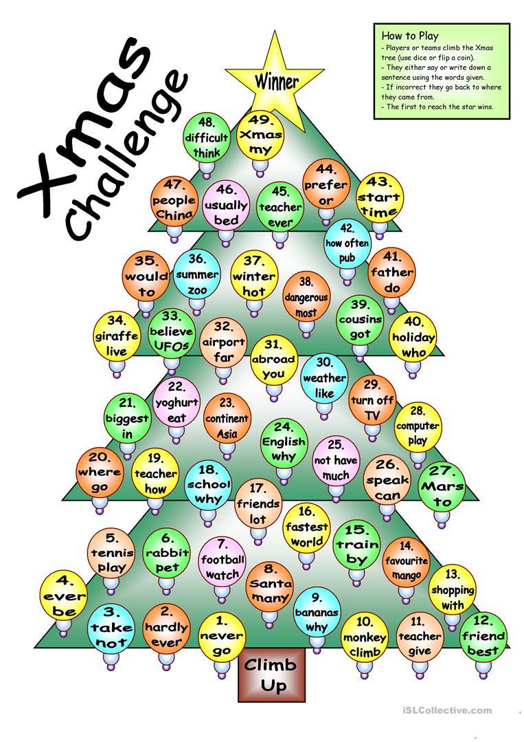 Board Game - Xmas Challenge Worksheet - Free Esl Printable - Free Printable Christmas Board Games