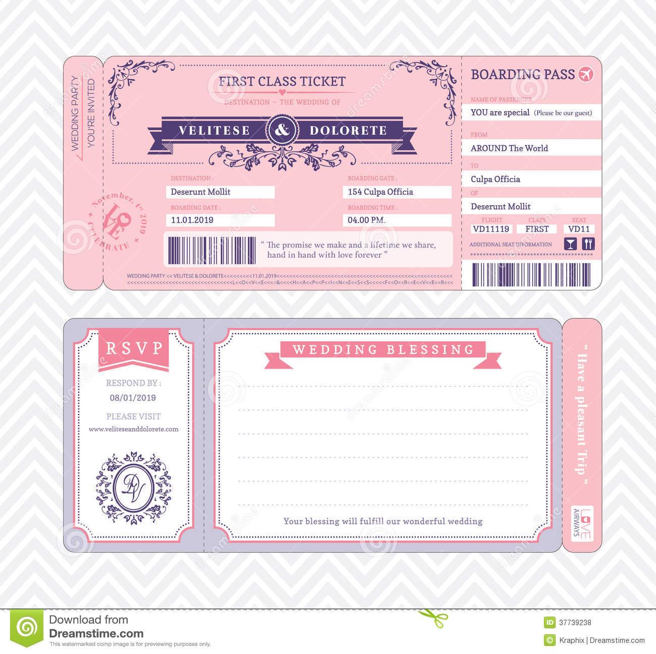 Boarding Pass Wedding Invitation Template Stock Vector - Free Printable Wedding Invitations Templates Downloads