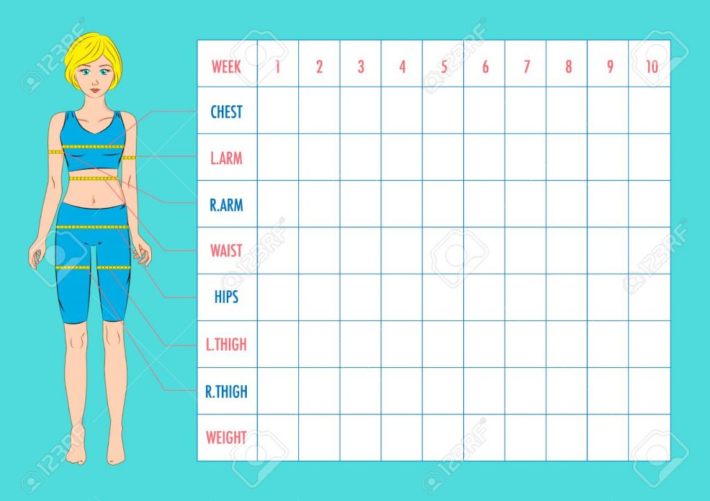 image about Free Printable Body Measurement Chart identified as System Dimension Monitoring Chart Style and design. Blank Pounds Reduction