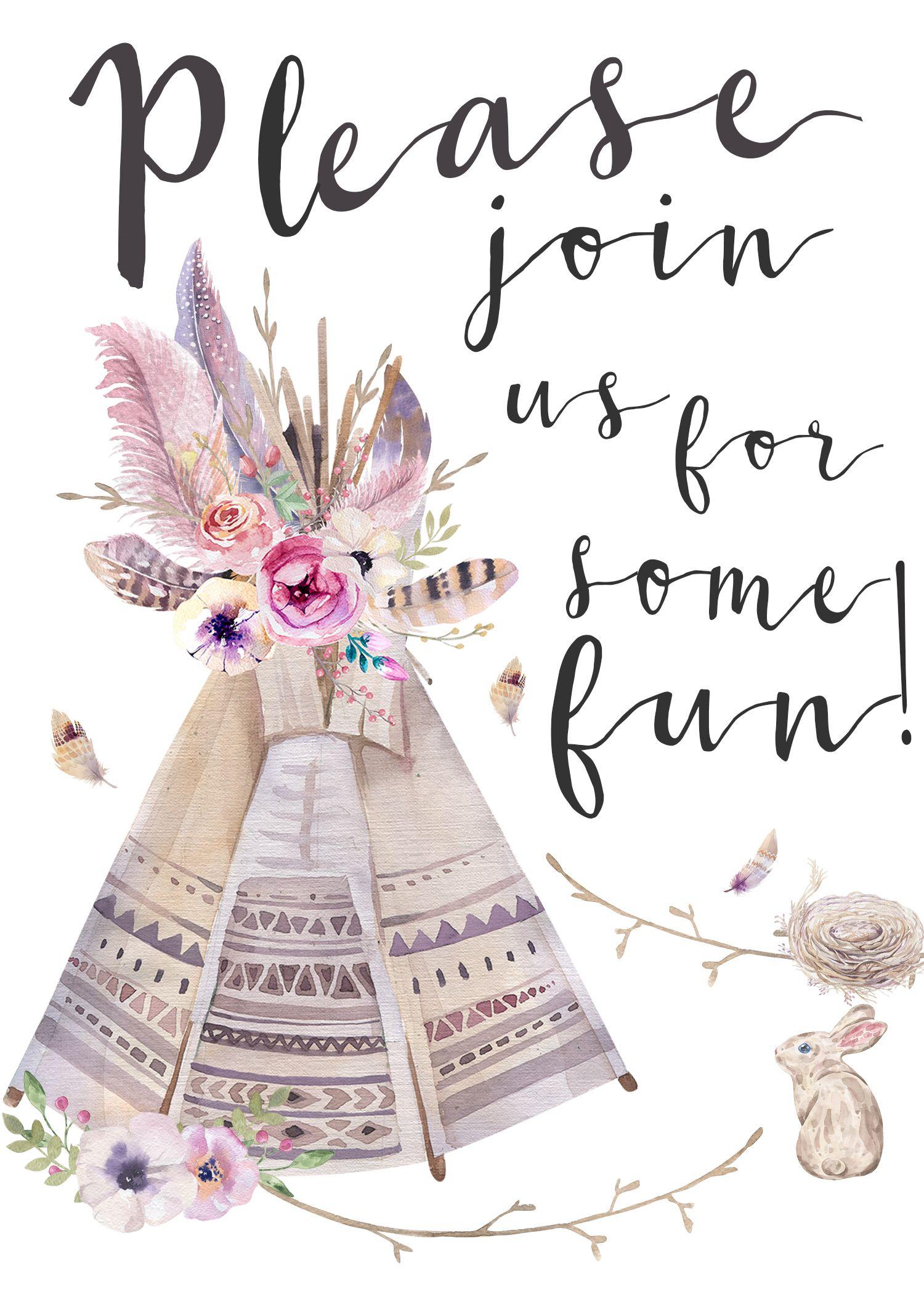 Boho Style Invitation (It's Free!) | Summer Party | Boho, Free - Free Printable Teepee