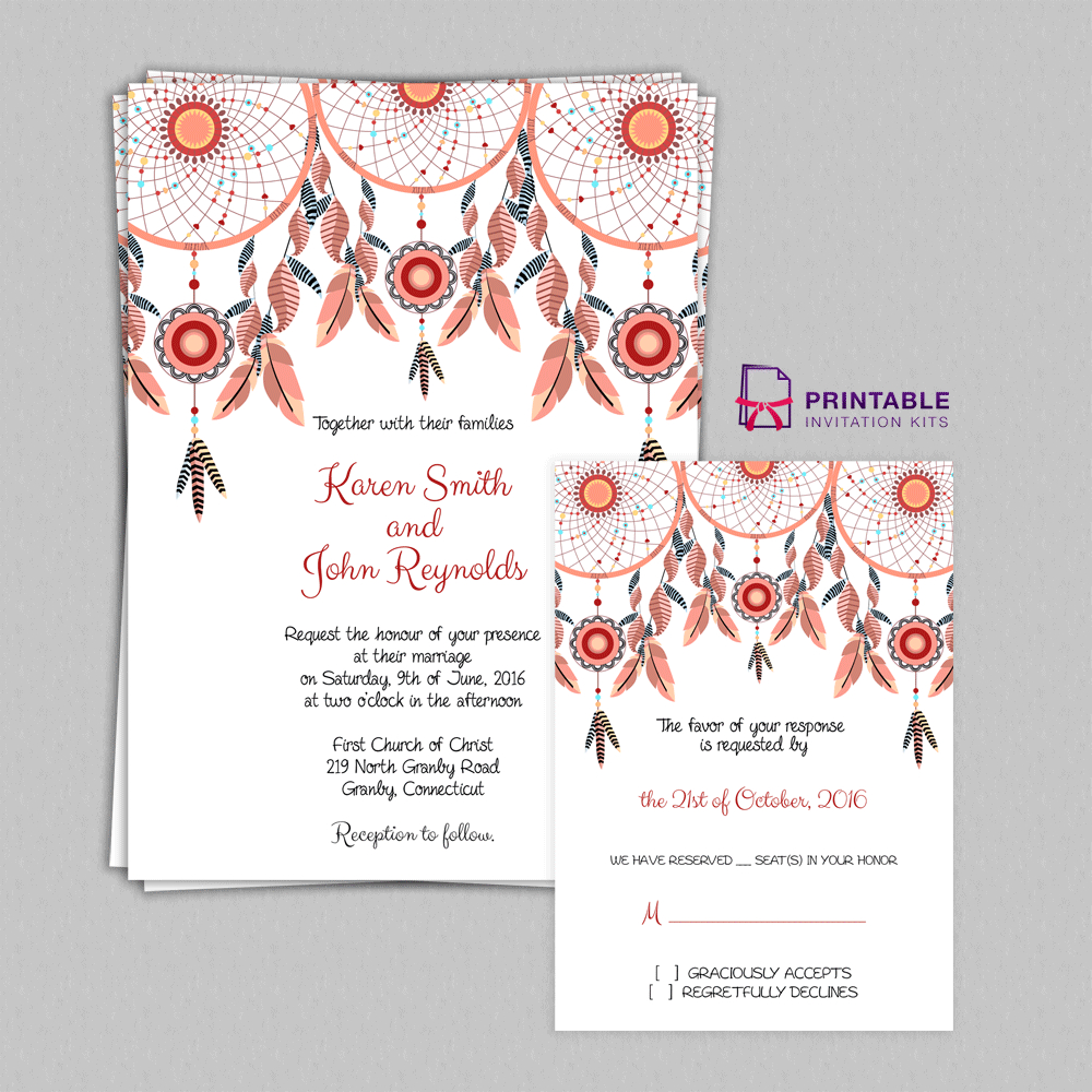 Boho Theme Dreamcatchers Wedding Invitation Set ← Wedding - Free Printable Wedding Invitation Kits