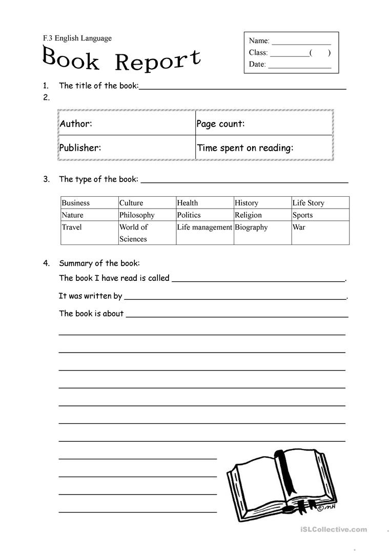 Book Report Form For Non Fiction Worksheet - Free Esl Printable - Free Printable Book Report Forms For Elementary Students