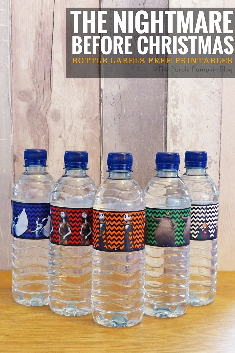 Bottle Labels - The Nightmare Before Christmas - Christmas Water Bottle Labels Free Printable