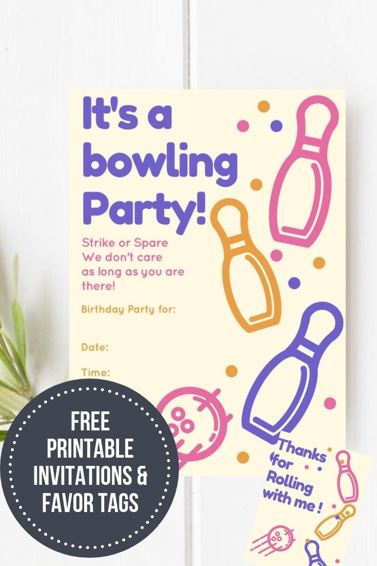 Bowling Birthday Party &  Free Printable | Free Printables - Birthday Party Favor Tags Printable Free