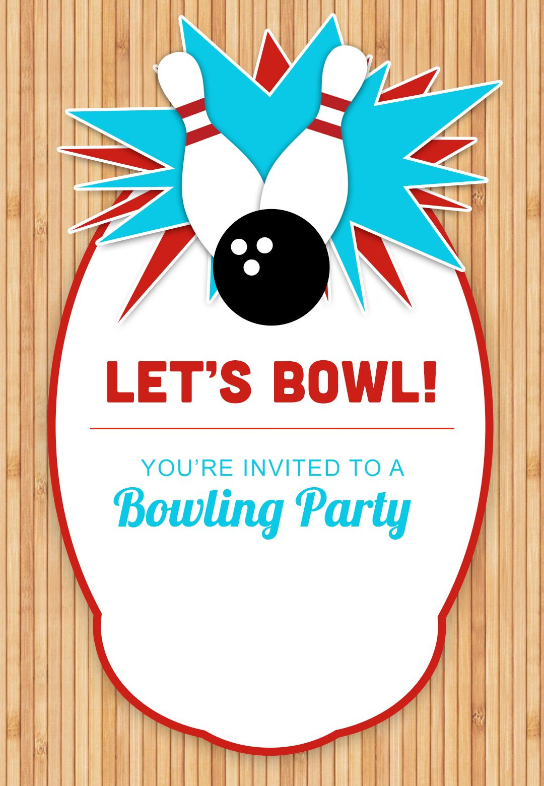 Bowling Party - Free Printable Birthday Invitation Template - Free Printable Birthday Party Invitations With Photo