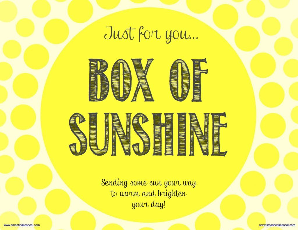 Box Of Sunshine & Free Digital Download | Gift -Box Of Sunshine - Box Of Sunshine Free Printable