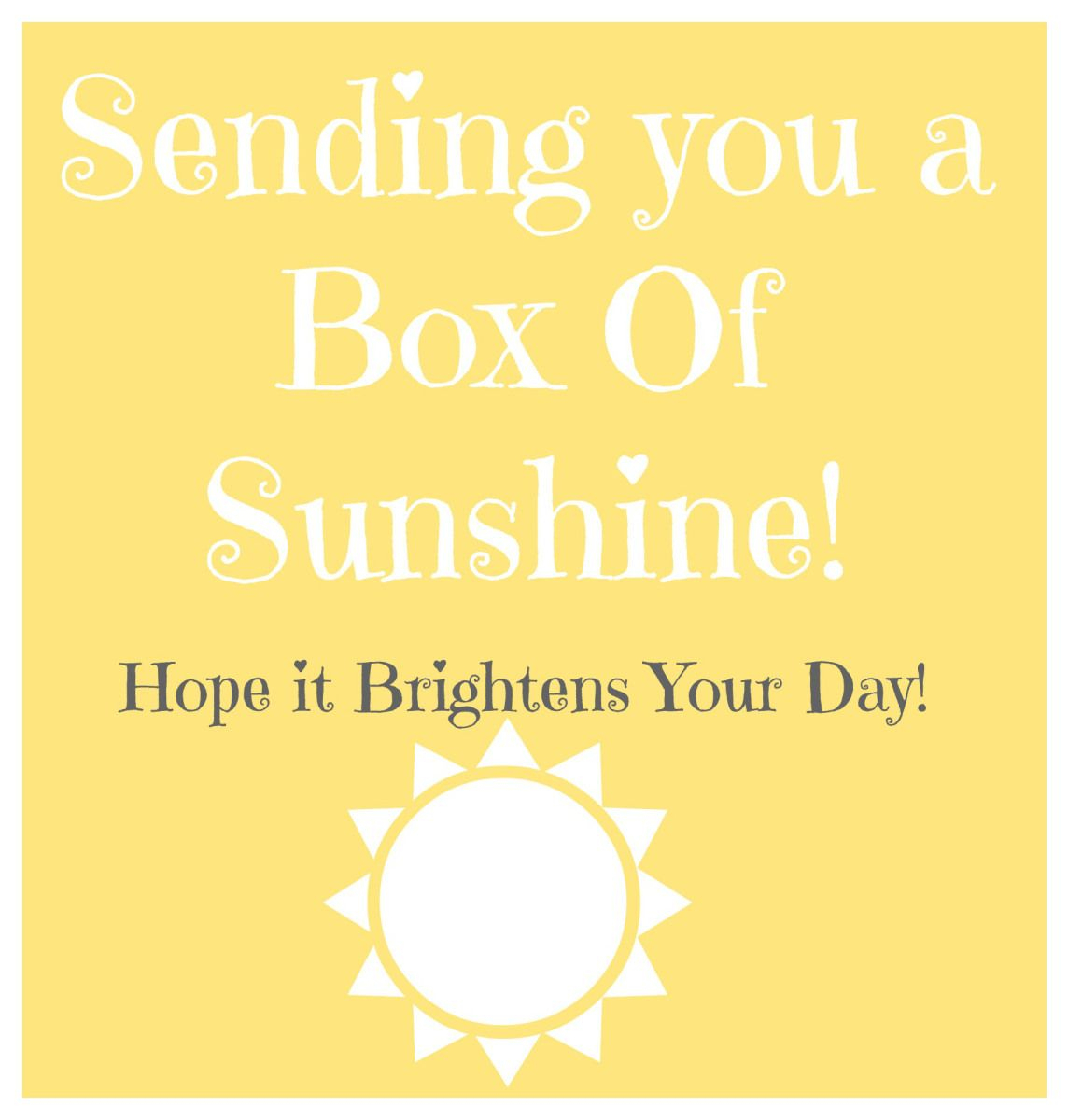 Box Of Sunshine // Free Printable // Rae Of Sparkles | Gift Ideas - Box Of Sunshine Free Printable