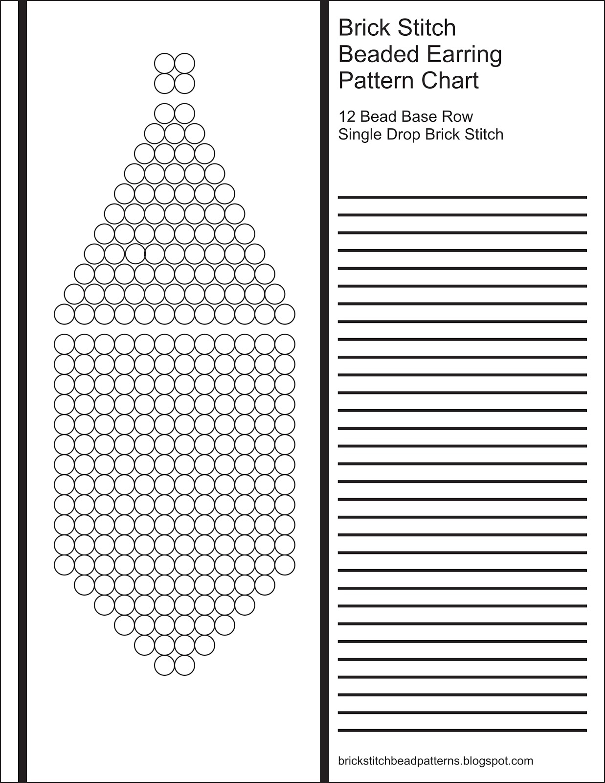 Brick Stitch Bead Patterns Journal: 12 Bead Base Row Blank Round - Free Printable Native American Beading Patterns
