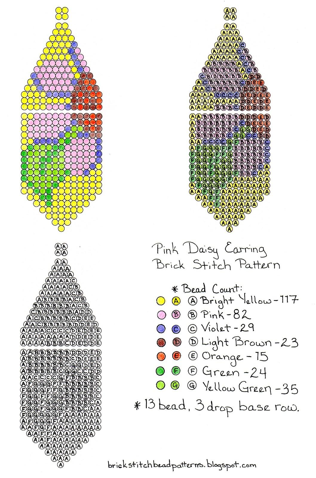 Brick Stitch Bead Patterns Journal: Free Pink Daisy Beaded Brick - Free Printable Beading Patterns