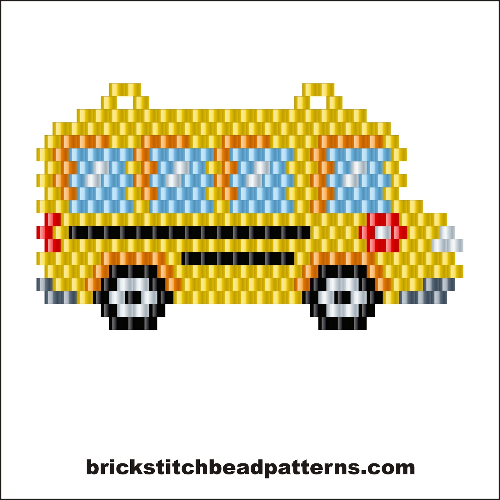 Brick Stitch Bead Patterns Journal: School Bus Earring Or Pendent - Pony Bead Patterns Free Printable
