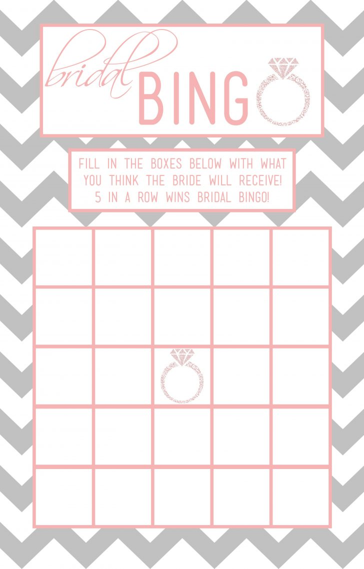 Free Printable Bridal Shower Blank Bingo Games