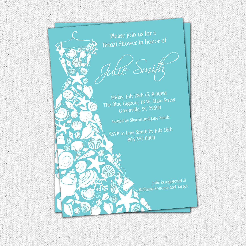 Bridal Shower Invitations, Seashell Dress, Elegant Sea Shell, Beach - Free Printable Beach Theme Bridal Shower Invitations