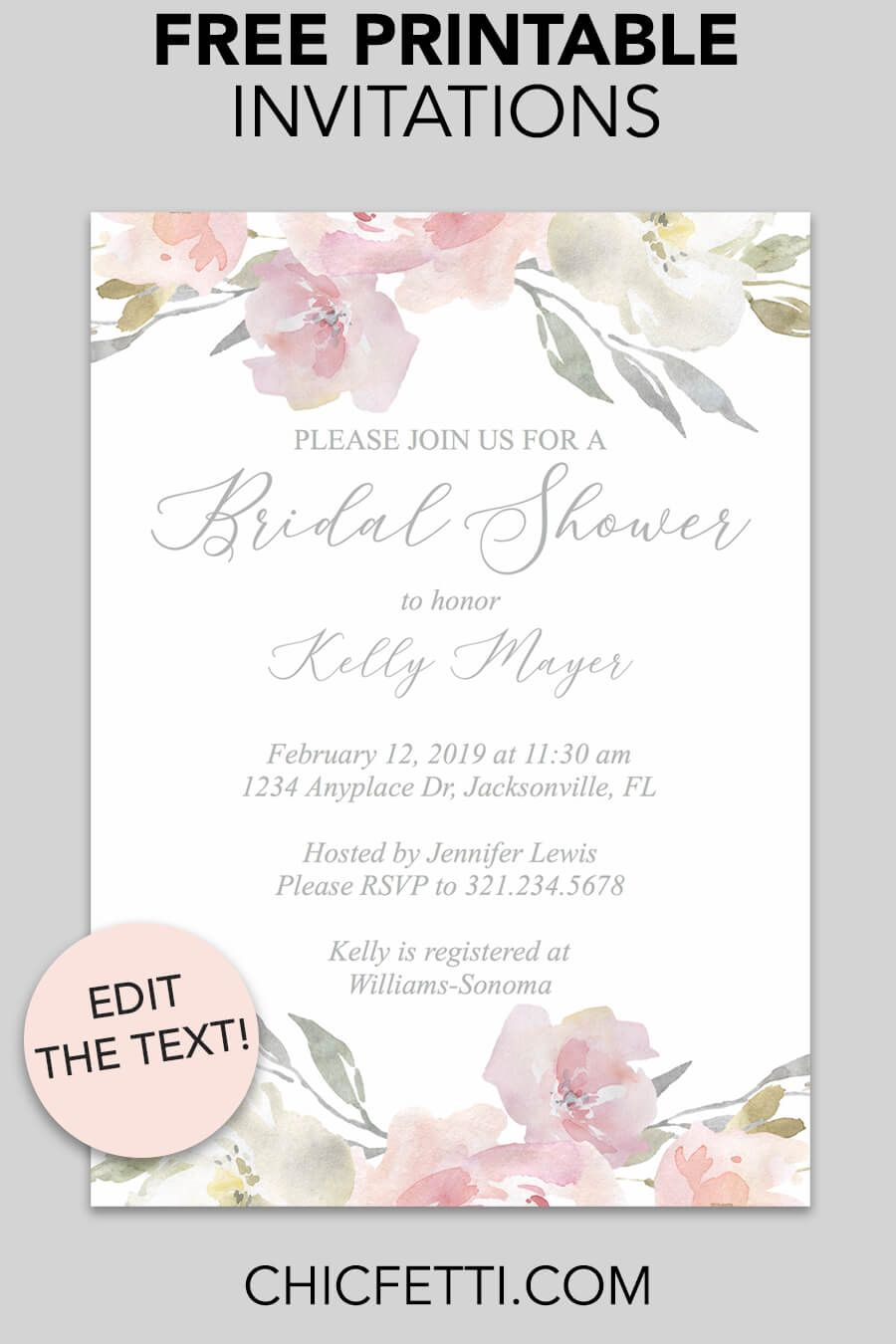 photograph about Bridal Shower Printable Invitations identify Totally free Printable Bridal Shower Invites Totally free Printable