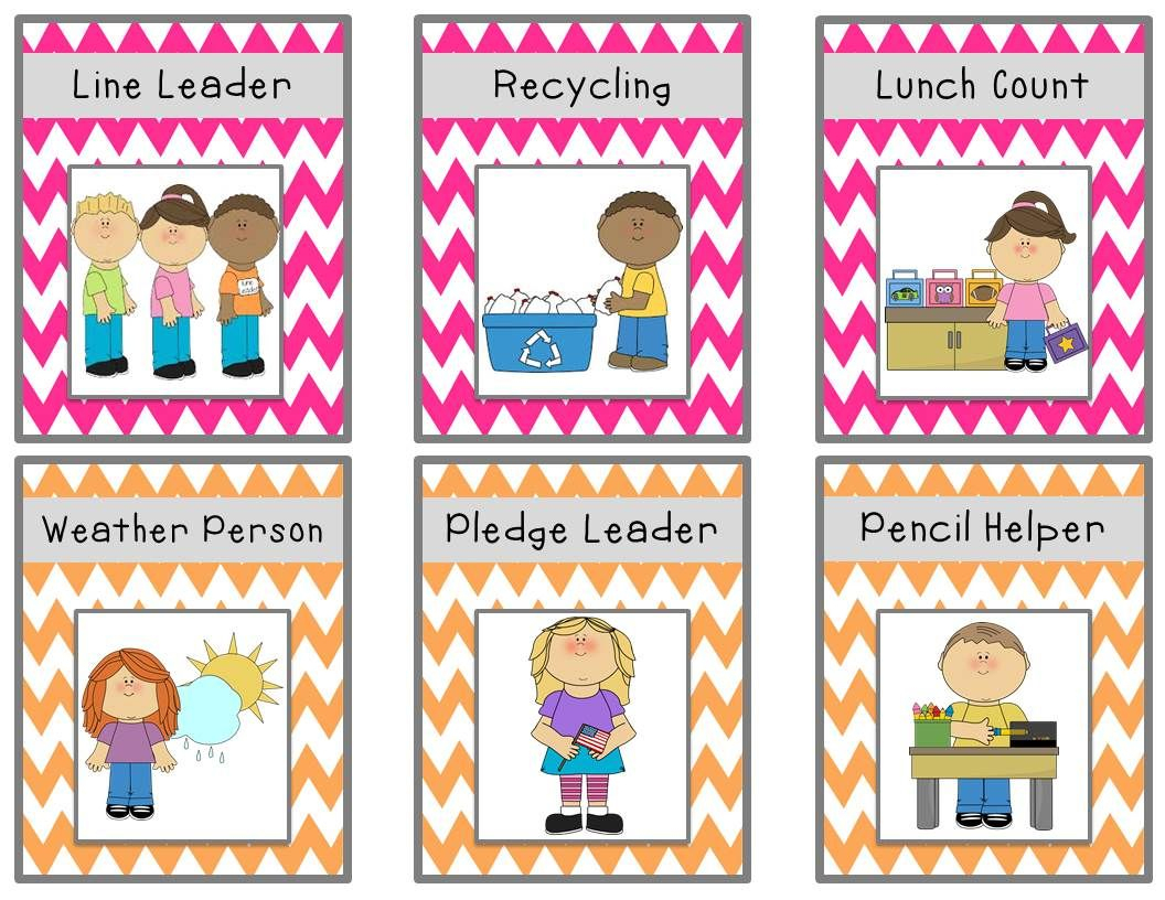 Bright Chevron Job Chart Cards {Freebie} | Classroom Ideas - Free Printable Classroom Helper Signs