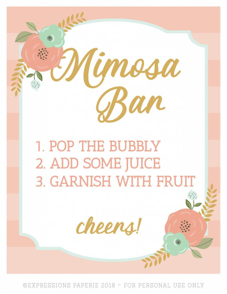 graphic regarding Mimosa Bar Sign Printable Free named Brunch And Mimosas Social gathering Designs - Strawberry Blondie Kitchen area