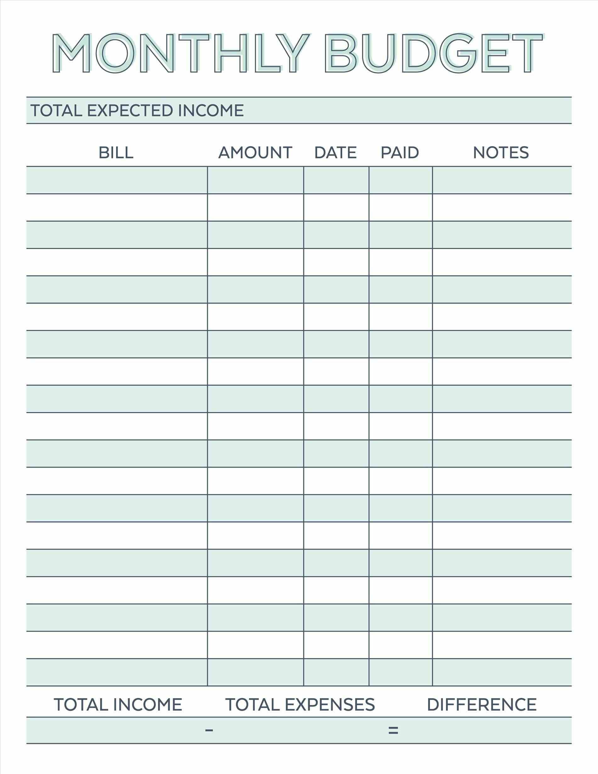 Budget Planner Planner Worksheet Monthly Bills Template Free - Free Printable Monthly Bills Worksheet