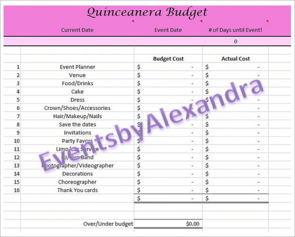 picture relating to Printable Quinceanera Checklist named Cost-free Quinceanera Planner Printable No cost Printable Down load