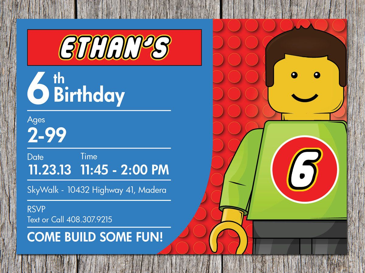 Building Blocks Birthday Party Invitation Legoaprintaffair - Lego Party Invitations Printable Free