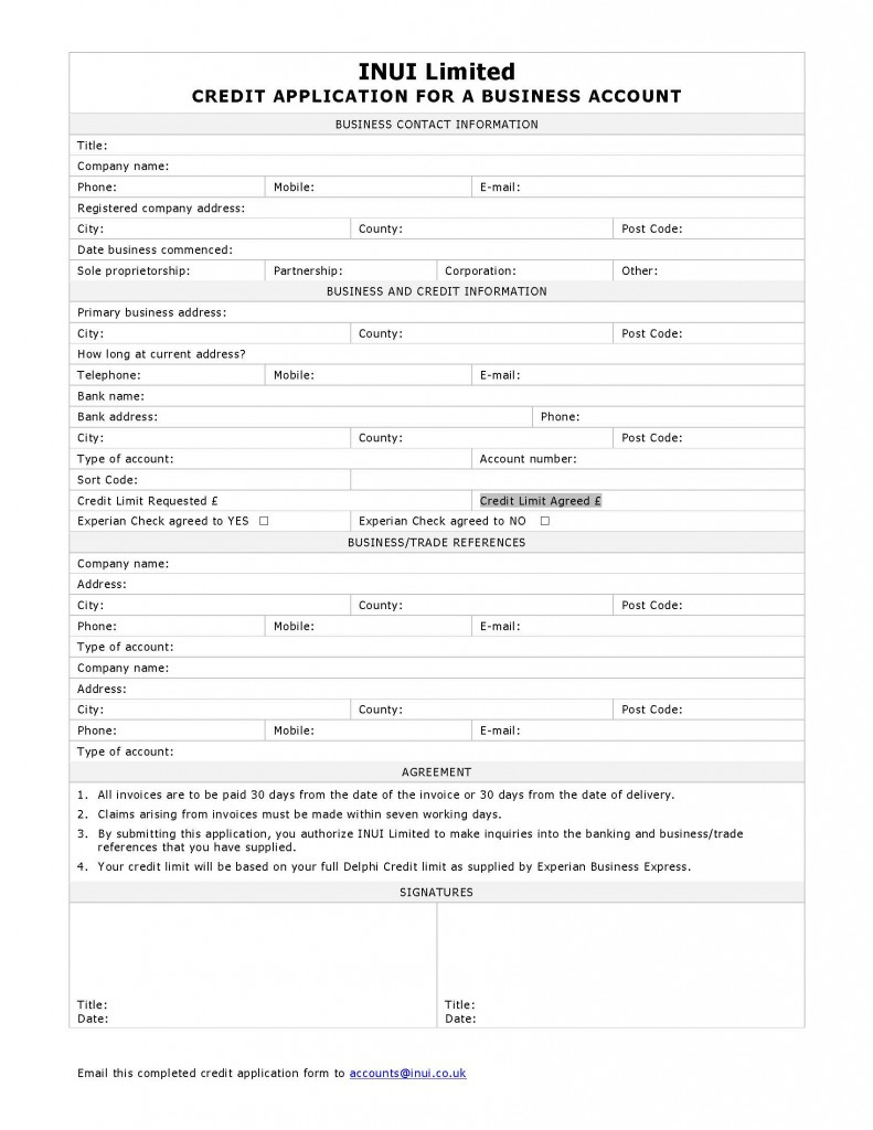 Business Credit Application Form | Inui Inui Throughout Blank Credit - Free Printable Business Credit Application Form