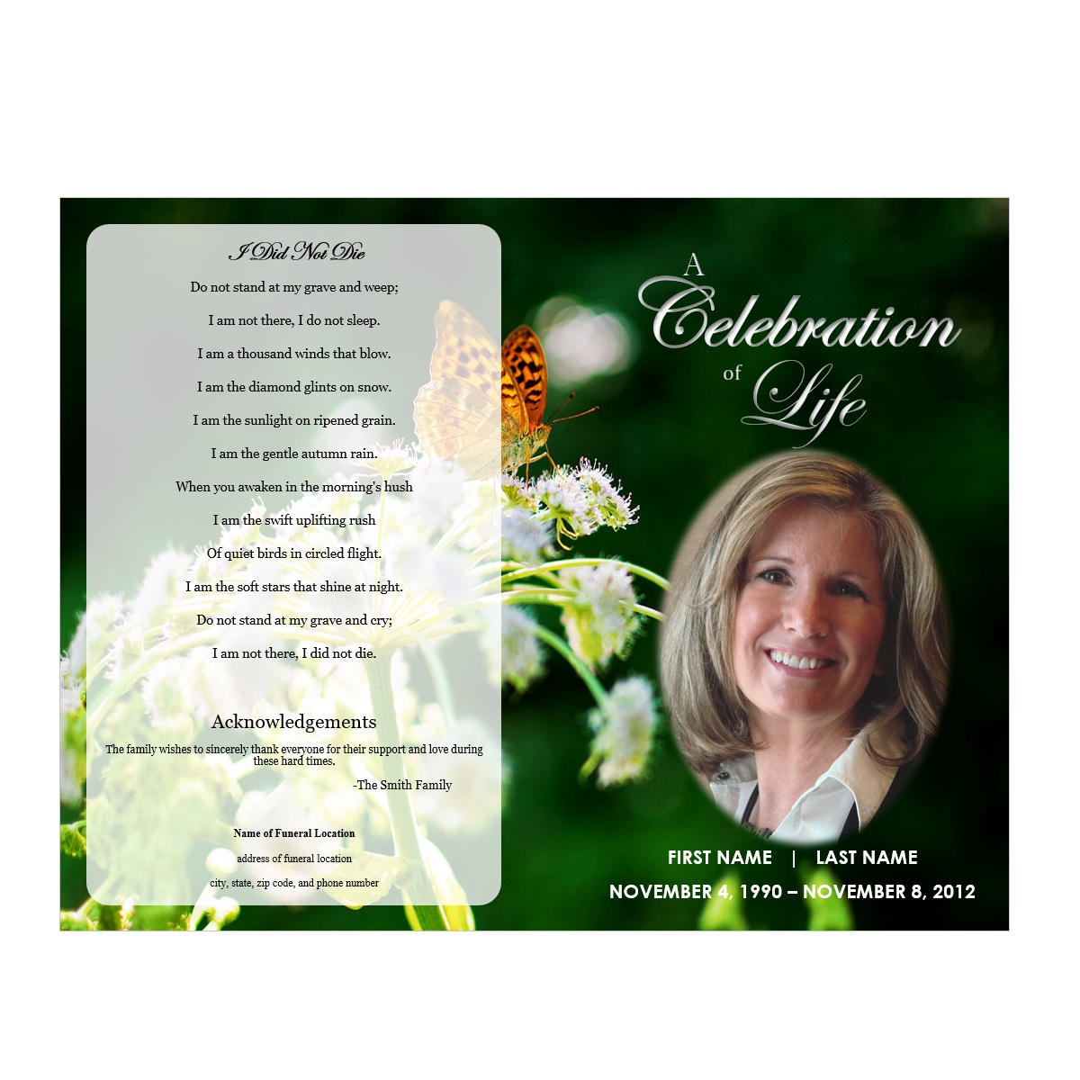 Butterfly Memorial Program - Funeral Pamphlets - Free Printable Funeral Program Template