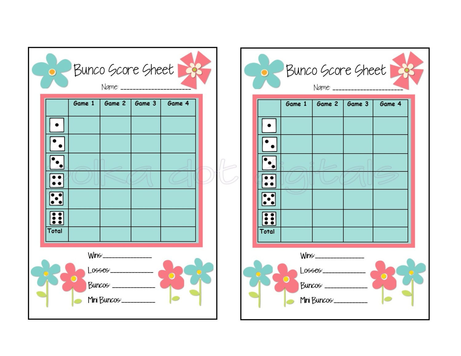 Buy 2 Get 1 Free Complete Set Spring Flowers Floral Bunco | Etsy - Free Printable Bunco Game Sheets