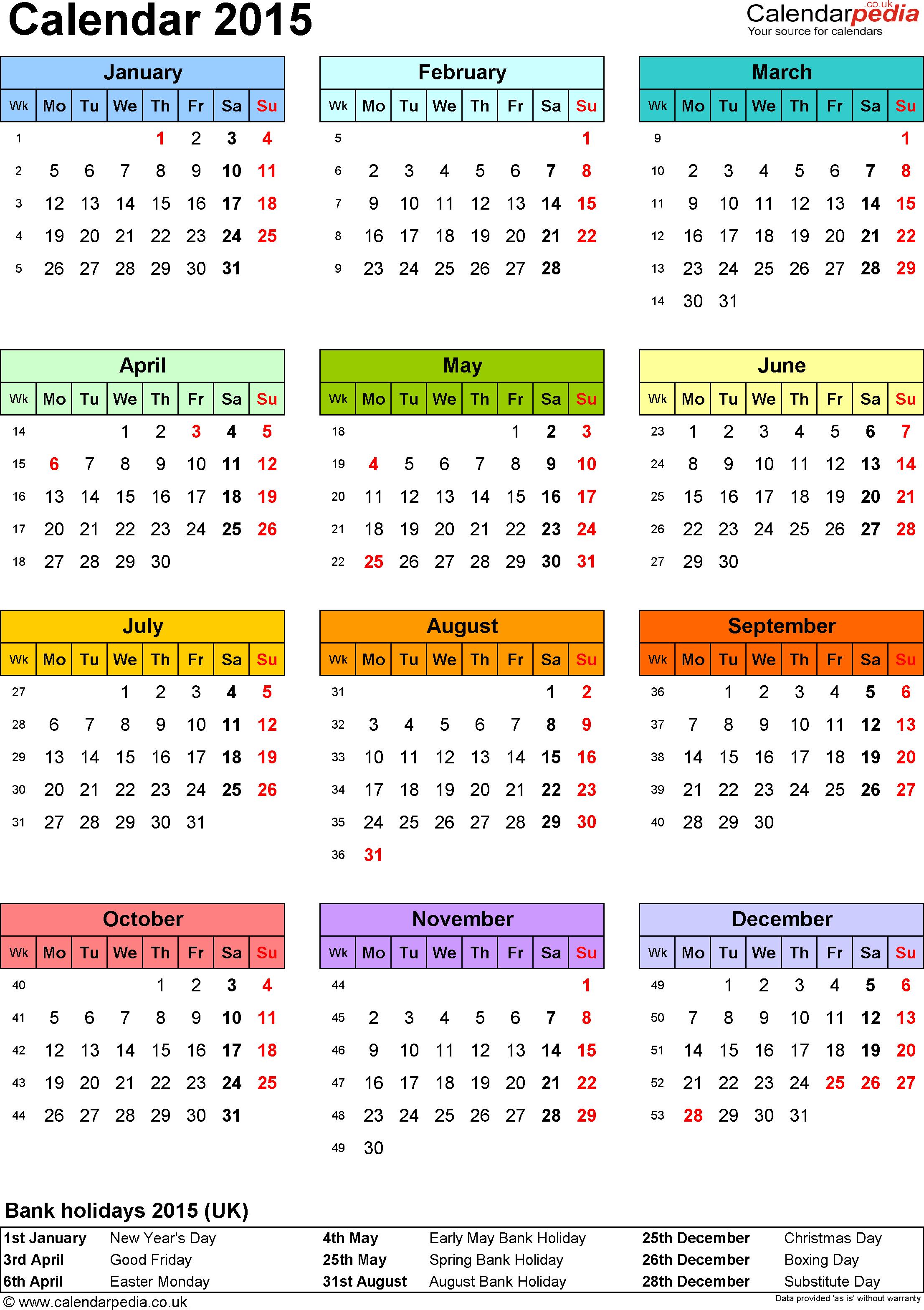 Calendar 2015 Uk 16 Free Printable Pdf Templates   News To Gow - Free Printable Diary 2015