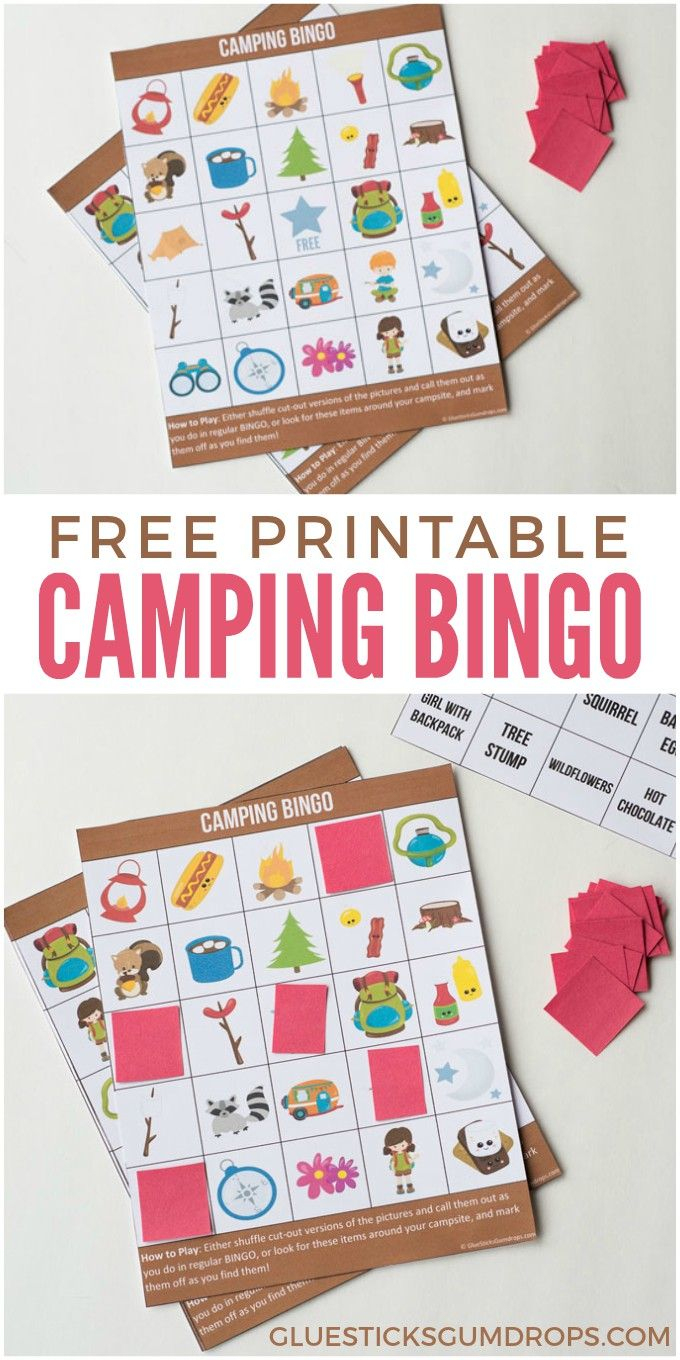 Camping Bingo Free Printable Cards | Best Of Glue Sticks And - Free Printable Camping Games