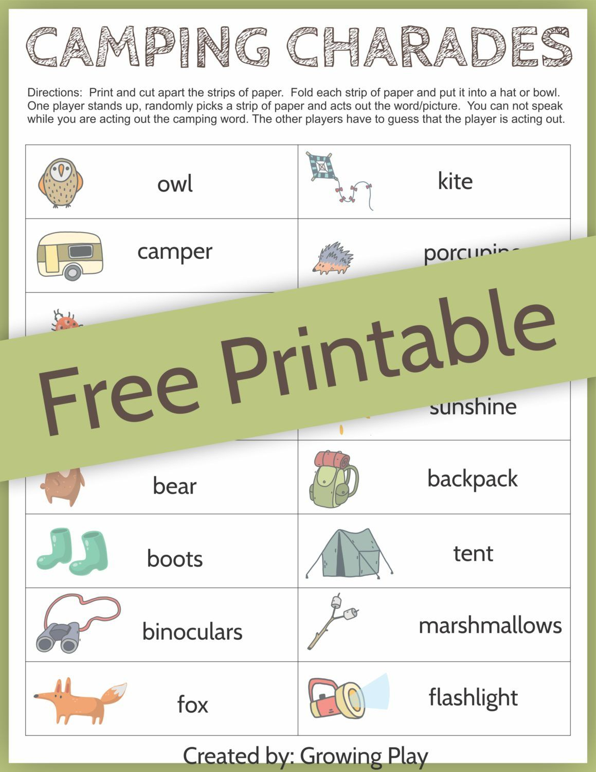Camping Charades Game For Kids - Free Printable | Camping | Games - Free Printable Charades Cards