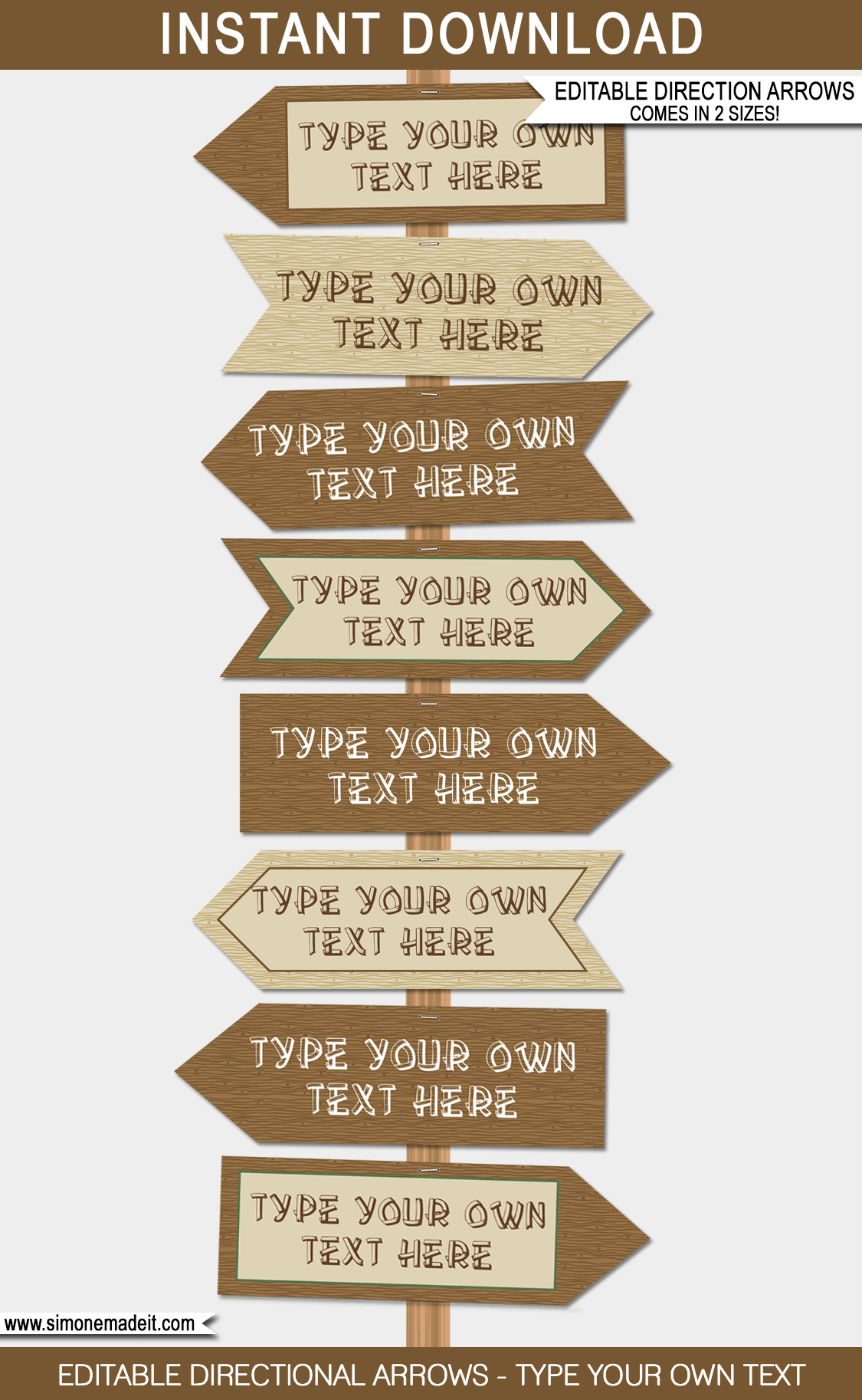 Camping Party Directional Signs   Printable Direction Arrows - Free Printable Camping Signs