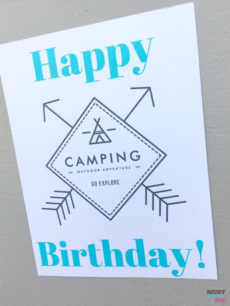 Camping Themed Birthday Party Ideas, Camping Party Food & Free - Free Printable Camping Signs