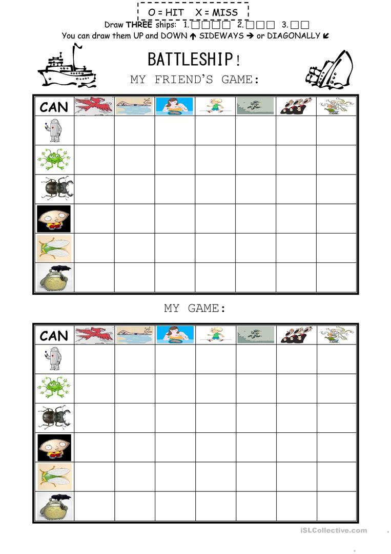 Can Battleship Game Worksheet - Free Esl Printable Worksheets Made - Free Printable Battleship Game