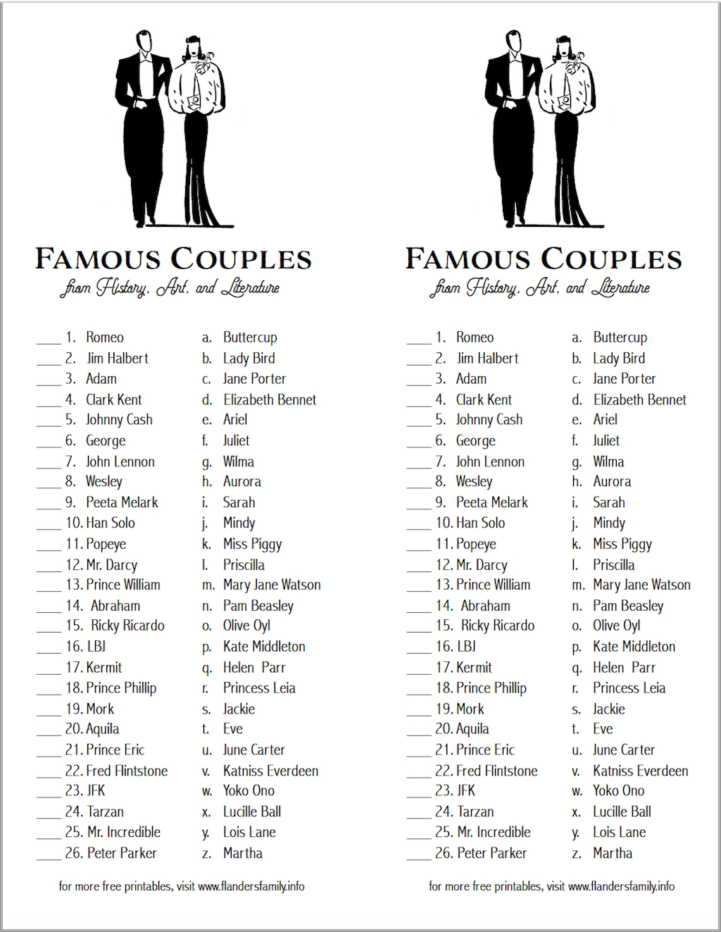 Can You Match These Famous Couples? (Free Printable) - Flanders - Free Printable Compatibility Test For Couples