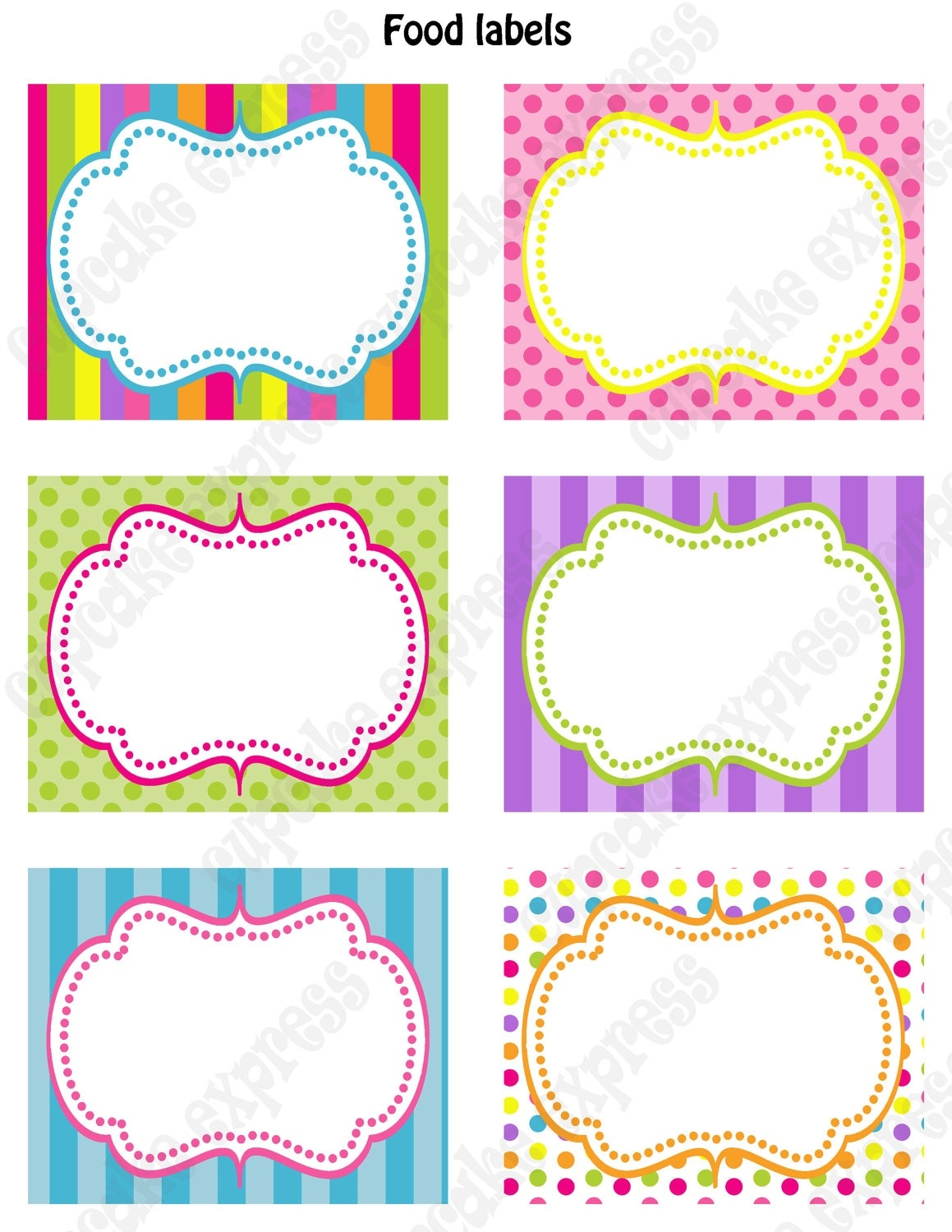 Candy Shoppe Birthday Party Printable Food Labels Pink Green Blue - Free Printable Food Labels