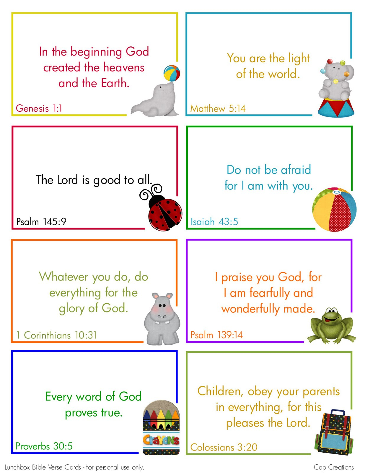 Cap Creations: Free Printable Lunchbox Bible Verse Cards - Free Printable Bible Verses For Children