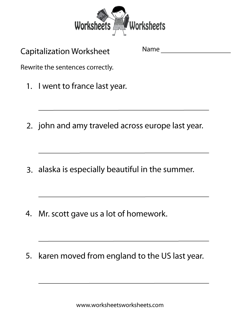 Capitalization Worksheets | Capitalization Practice Worksheet - Free - Free Printable Grammar Worksheets For Highschool Students