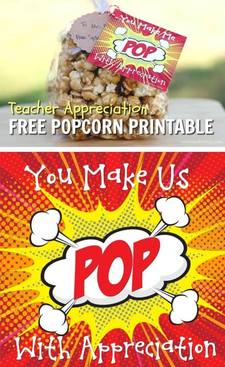 Caramel Popcorn | Recipe | Gift Ideas | Pinterest | Teacher - Free Popcorn Teacher Appreciation Printable