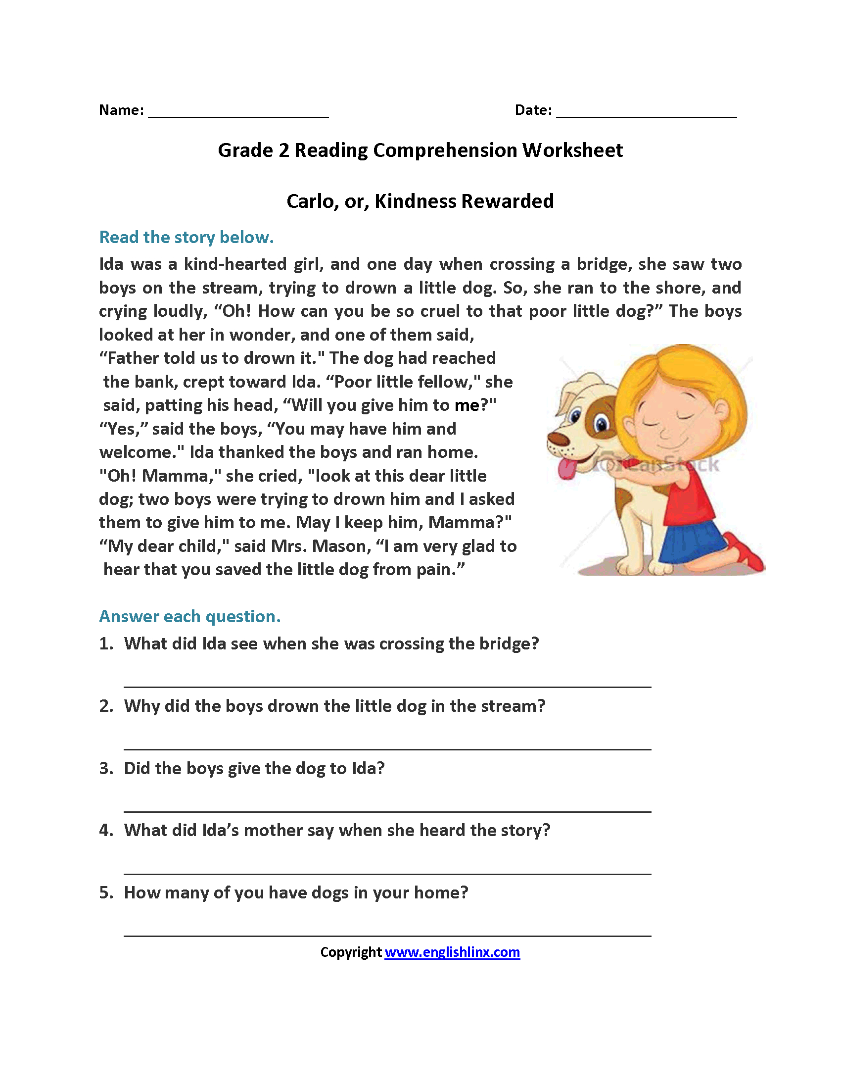 Carlo Or Kindness Rewarded Second Grade Reading Worksheets | Reading - Free Printable Worksheets Reading Comprehension 5Th Grade