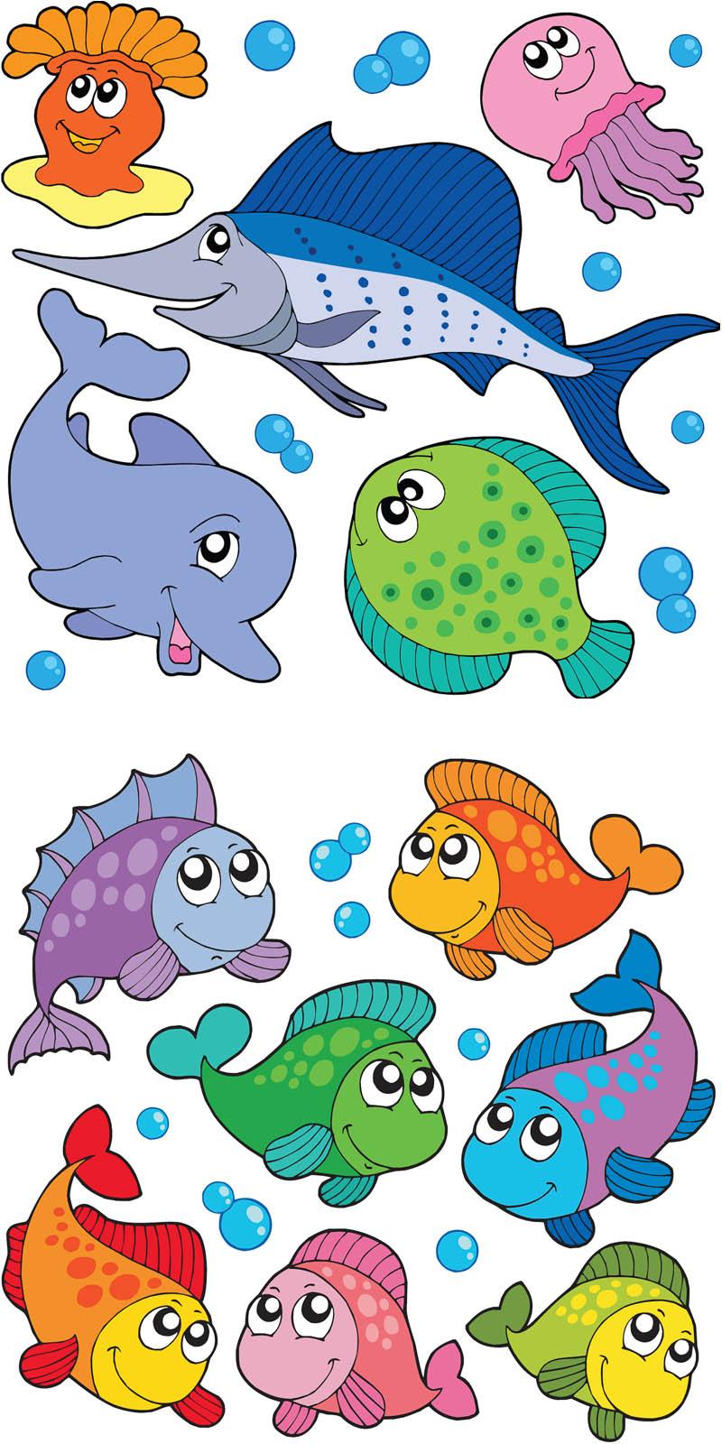 Cartoon Fishes Vector   Vector Graphics Blog - Free Printable Sea Creature Templates