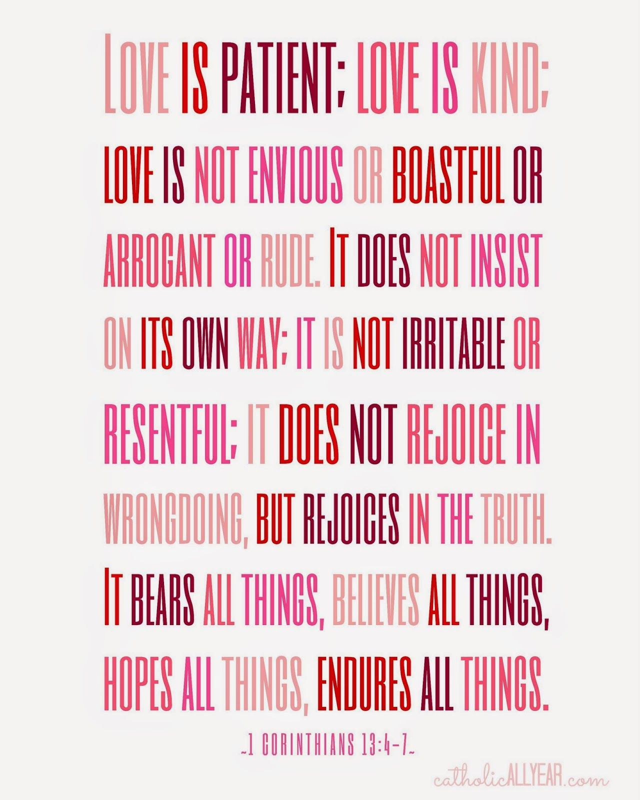 "Catholic All Year: Seven Free Printable Catholic Valentines ""love Is - Love Is Patient Free Printable"